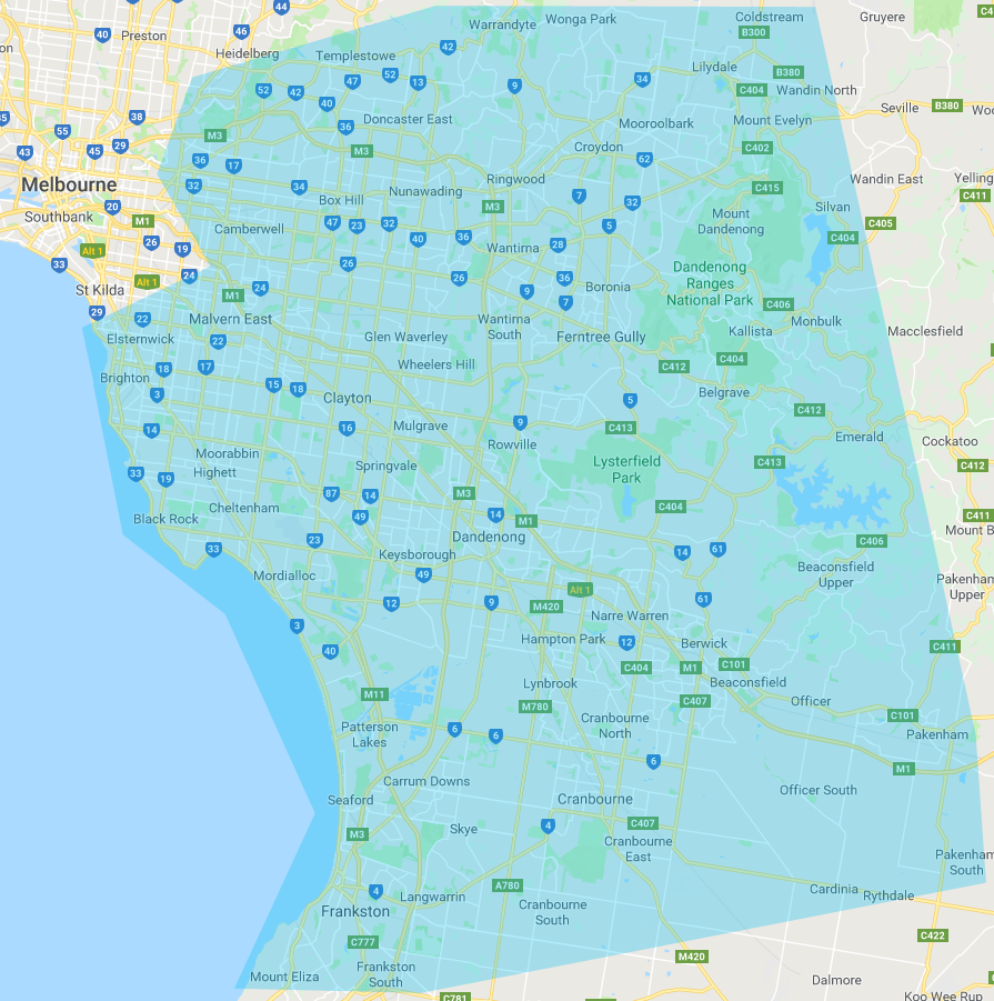 south east melbourne suburb map